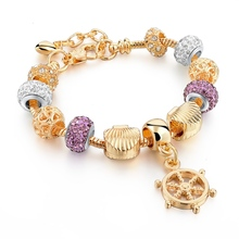 2016 Famous Jewelry Gold Heart Charm Bracelets & Bangles Snake Chain Bracelets For Women Pulsera SBR150076(China (Mainland))