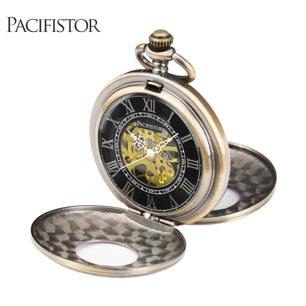 INFANTRY Mens Pocket Watches New Arrival Roman Numerals Round Stainless Mechanical Skeleton Pocket Watches Bronze Reloj(Hong Kong)