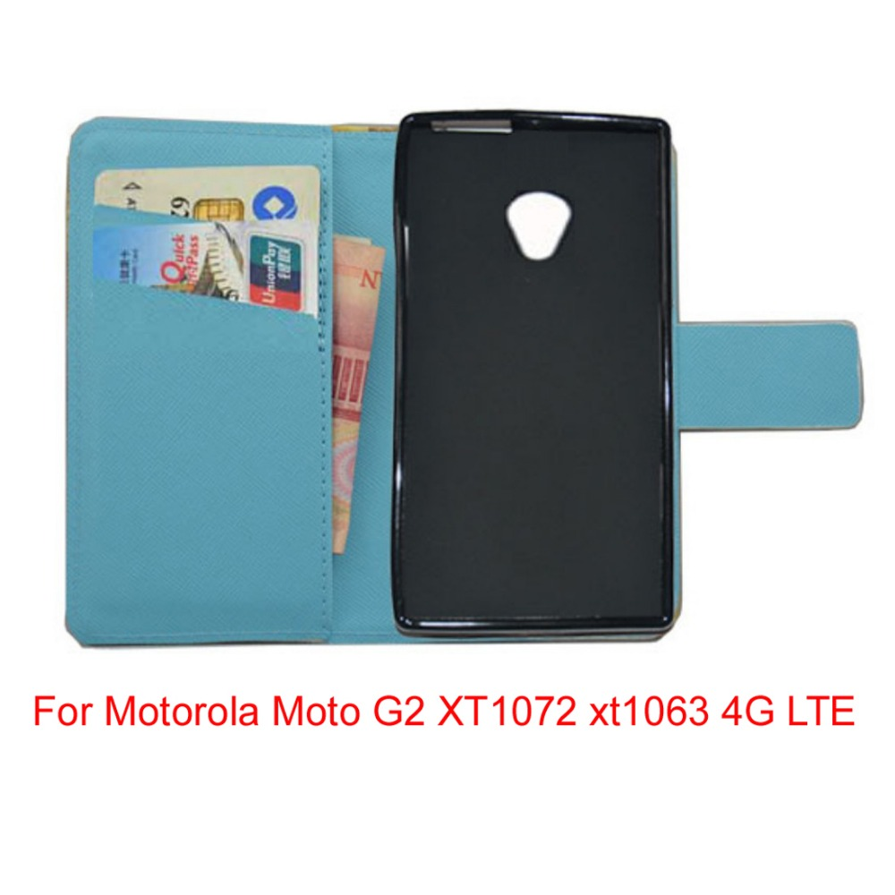 For Motorola Moto G2 XT1072 xt1063 4G LTE lovely Cartoon pu leather wattet cell phone cover Case with free gifts mini stylus(China (Mainland))