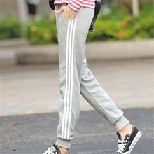 Pantalones Mujer 2016 Sport Harem Pants Women Casual Sweatpants Loose Pant 3 Stripes Trousers Ladies Joggers Spring Capris(China (Mainland))