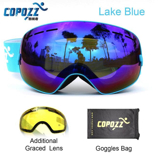 COPOZZ бренд лыжные очки 2 дважды объектива UV400 противотуманные большие сферические очки катание на лыжах мужчины женщины сноуборд очки GOG-201 + объектив