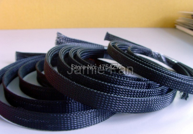 30m Dia 3mm General Wire Protection Black PET Nylon Braided Cable Sleeve(China (Mainland))