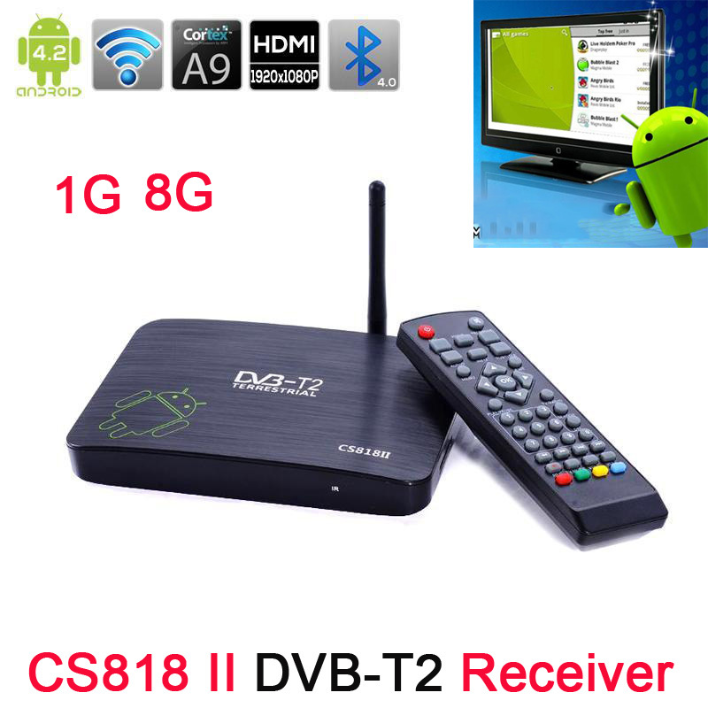 Original CS818 II DVB-T2 Receiver Android Hybrid HD TV Box CS818ii Amlogic 8726 Dual Core 1GB 8GB XBMC Preinstalled Mini PC - BOAS store