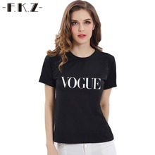 Buy FKZ T-shirt Women Tops Tee t Shirt Femme 9 Colors S-3XL Fashion Brand TShirt VOGUE Print Tops New Arrivals Hot Sale Tops GNT026 for $6.99 in AliExpress store