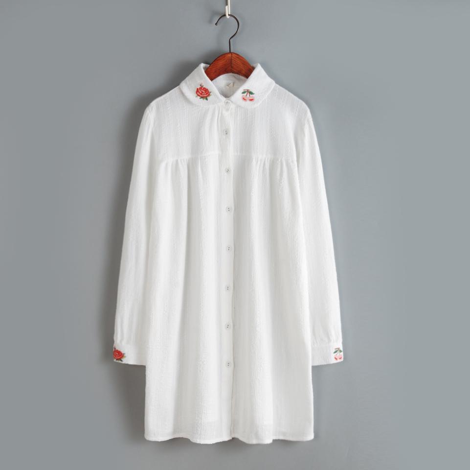 2016 women dress pure white flower embroidery doll dress long sleeved dress japanese mori girl cotton dress(China (Mainland))