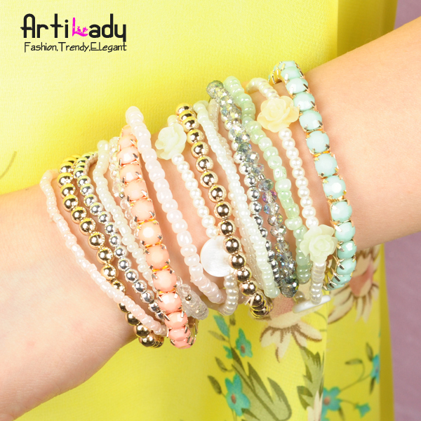 Artilady new simulated pearl with crystal handmade bracelet set 2colors