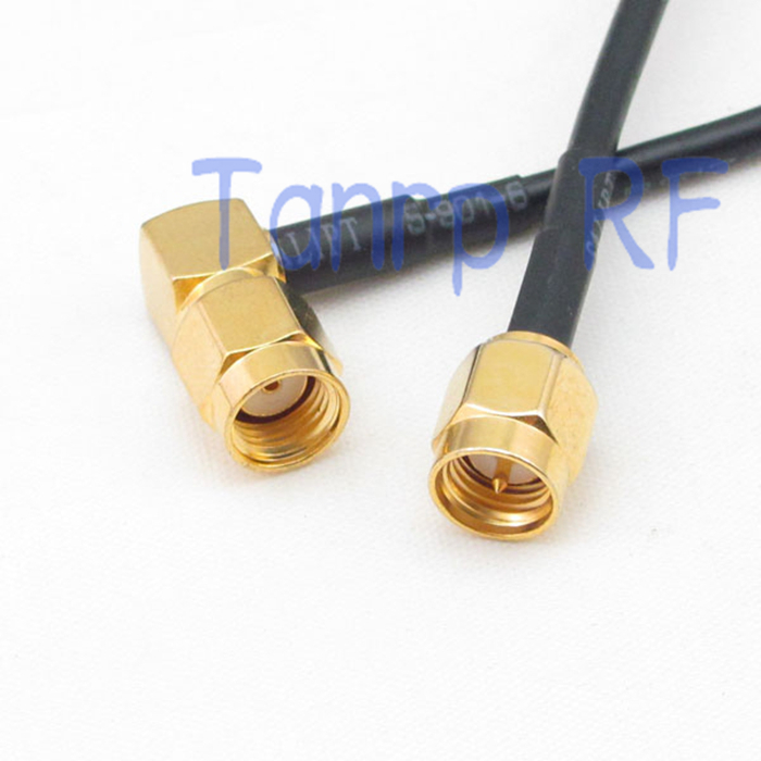 10pcs 8in SMA male to RP SMA male plug  right angle RF connector adapter 20CM Pigtail coaxial jumper cable RG174 extension cord<br><br>Aliexpress