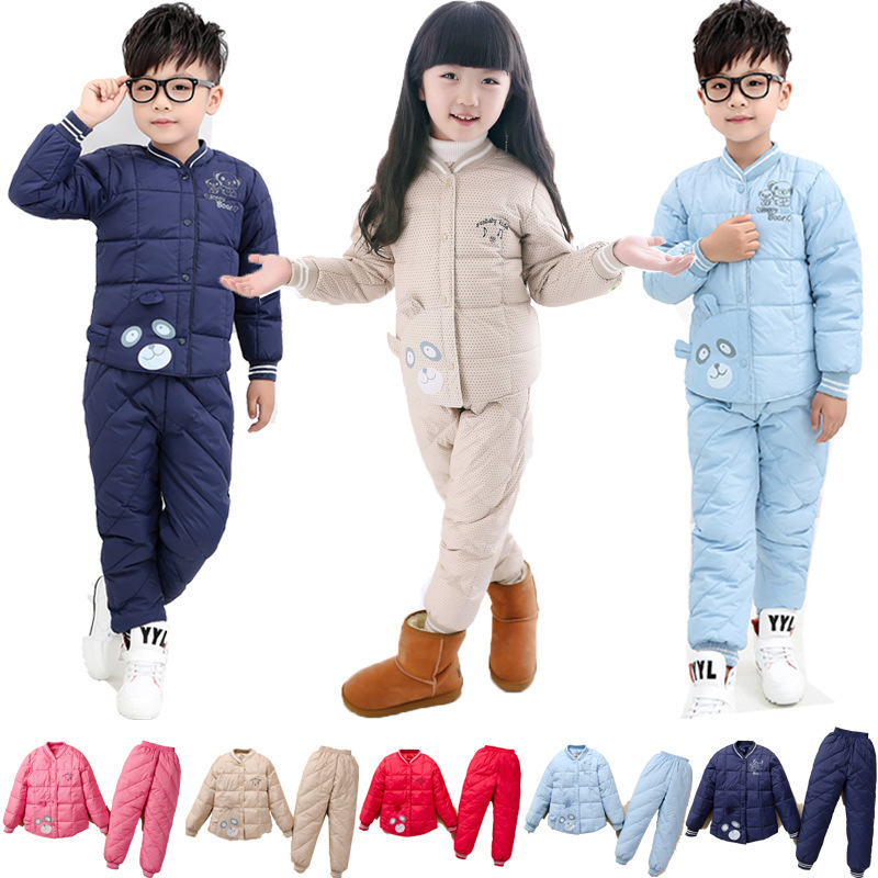 2015  2015  New Winter Clothing Sets Boys and girls velvet jacket 80% light warm down jacket Suits, coat+pants,3-6T<br><br>Aliexpress