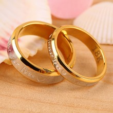 Never fade 18k gold silver plated forever Love letter jewerly accessories Women & Men wedding pair Couple Rings(China (Mainland))