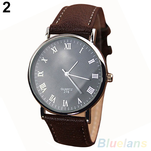 Men's Roman Numerals Faux Leather Band Quartz Analog Business Wrist Watch 2MPW 4AVQ(China (Mainland))