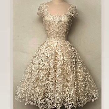Women Fashion Honey Beige Ball Gown Party Dresses Sexy Lace Elegant Evening Prom Dress Square Collar Vintage Dress vestidos(China (Mainland))