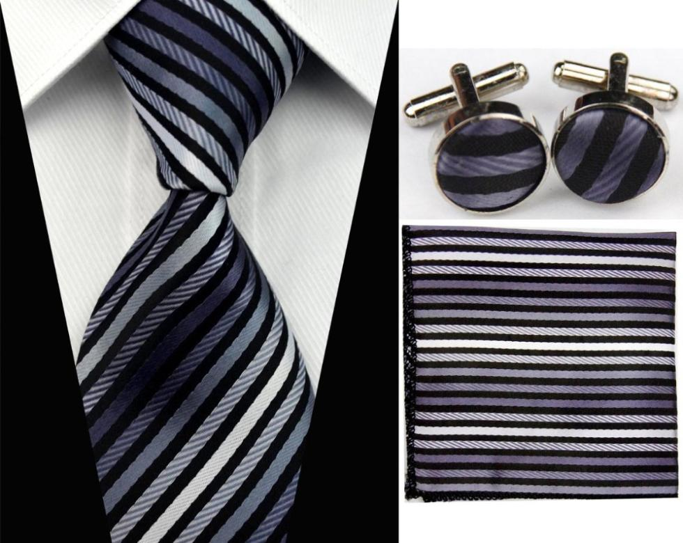 SNT0033 Hot Sale2014 Fashion Man Ties Necktie Set Cufflink Hanky Checked Striped Casual Neckties Formal Prom