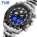 TVG Brand New Luxury Watch Men Stainless Steel Digital Dual LED Display Men Watches 3168 Quartz