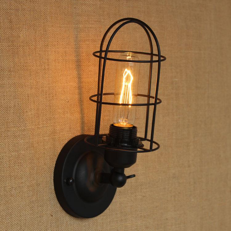 Industrial Led Wall Sconces : Black-metal-wall-lamp-light-for-led-110v-220v-vintage-loft-industrial-america-indoor-wall ...