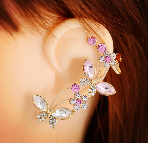 crystal rhinestone Insect butterfly rose ear cuff clip earring fashion jewelry gift women girl E2484 - just do my best store