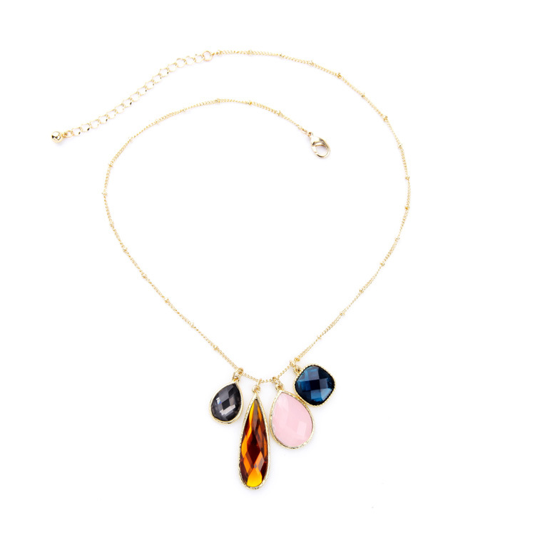New Trending Gift 2016 Bohemain Statement Necklace Delicate Gold Thin Chain With Colorful Faux Gem stone Pendant Necklace(China (Mainland))
