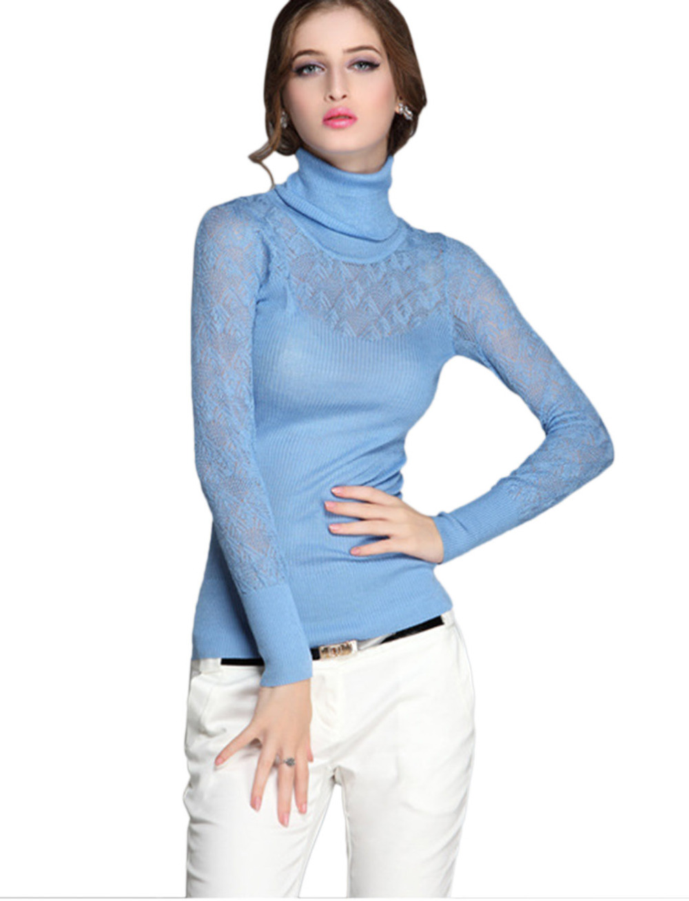 Buy 2016 Spring New Long Sleeves Wool Solid Lace ...