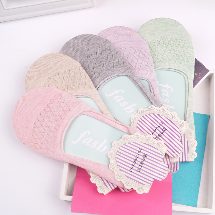 5 pairs=1 lot cotton invisible socks summer antiskid women slipper socks cute thin meias candy color ankle boat socks