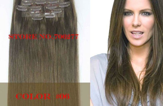 """Free shipping,120g, Hair extensions 7pcs set,18""""-28"""",color#06,full around head Natural hair clip in on extensions"""