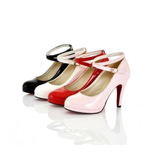 Buy women's shoes 30 31 32 33 elegant hasp high-heels lady 's shoes plus size shoes 40 41 42 43 fashion black pink white pink pumps for $29.92 in AliExpress store