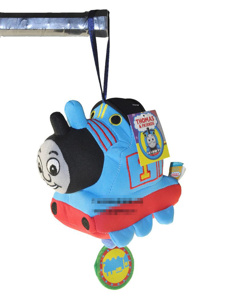 Free shipping 2 pc classic toy cloth THOMAS train plush rattle safety mirror musical ring hanging bed hung bell baby infant toy(China (Mainland))