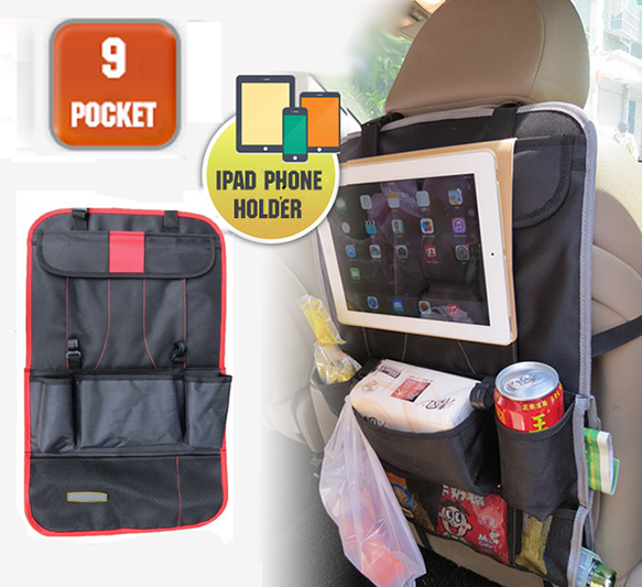 Accessories RED CAR REAR SEAT BACK ORGANIZER PAD PHONE HOLDER STORAGE BAG HANGER NET TRUCK MESH TRAVEL POCKET(China (Mainland))