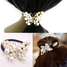 Women Lovely Imitation Pearls Butterfly Hair Rope Crystal Hair Band Elastic Headband acessorios para cabelo turbante cheveux(China (Mainland))