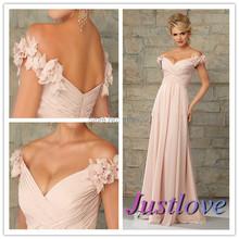2015 Flower Off the Shoulder Long Fashion Blush Bridesmaid Dresses for Wedding Party Gown Vestido Longo Para Madrinha(China (Mainland))