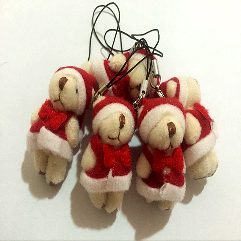 50pcs/lot 4cm plush mini Christmas bear mini bear plush pendent Christmas gift Christmas decorations(China (Mainland))
