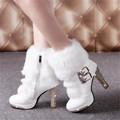 2017 Womens White Boots Fur High Heels Plush Warm Platform Ankle Boots Shoe Side Zipper Buckle