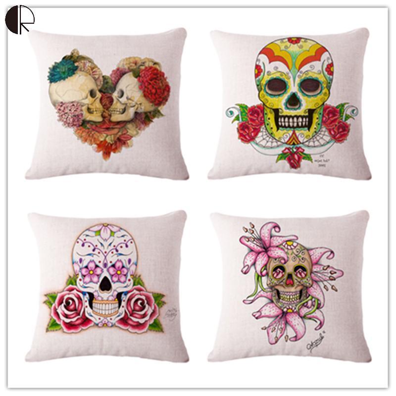 "Mexican Skull Fashion Theme Decorative Linen Cushion NO CORE Home Decor Sofa Bed Chair Throw Pillow Pillowcase 17"" Emoji Pad(China (Mainland))"