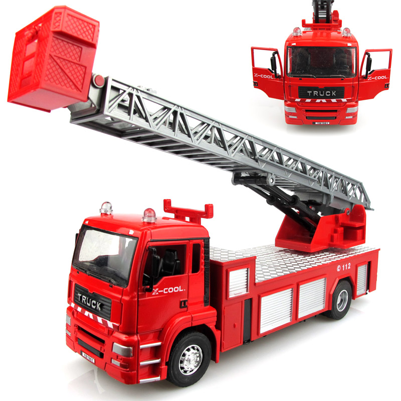 Free Shipping hot alloy electric metal toy model aerial ladder large fire truck car toys best Christmas boy gifts kids toys car(China (Mainland))