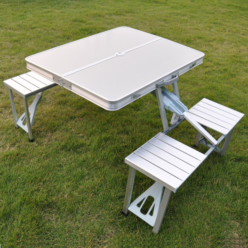 Outdoor folding tables and chairs picnic table aluminum - Camping picnic table and chairs ...
