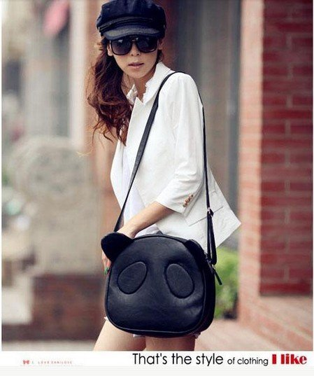 2014 New Hot  Women Girls Cute Panda PU Leather Handbag/ Cross Body Shoulder Bag