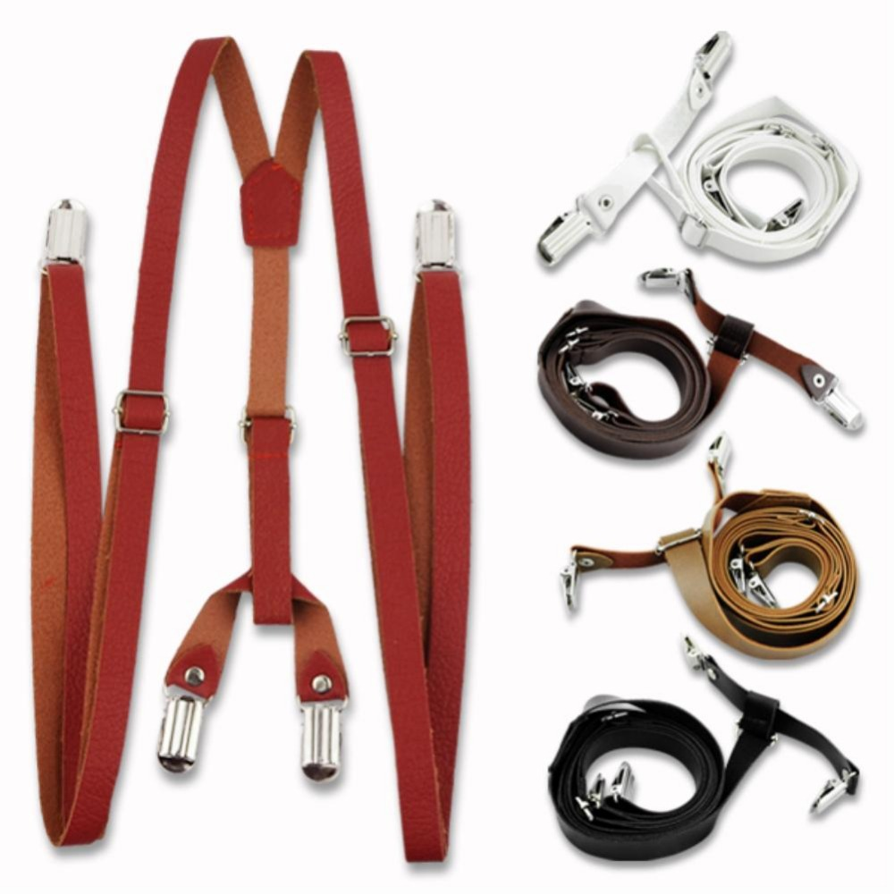 Men Adjustable Clip-on Leather Suspenders for women suspensorio Braces Brown fashion accessories 2015 EQ5142(China (Mainland))
