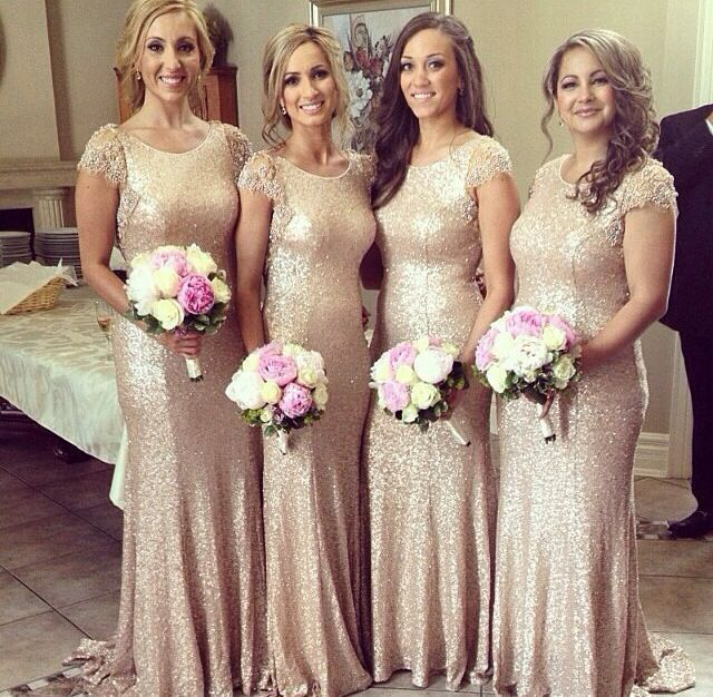 Gold Sequin Bridesmaids Dresses Gold Sequined Bridesmaid