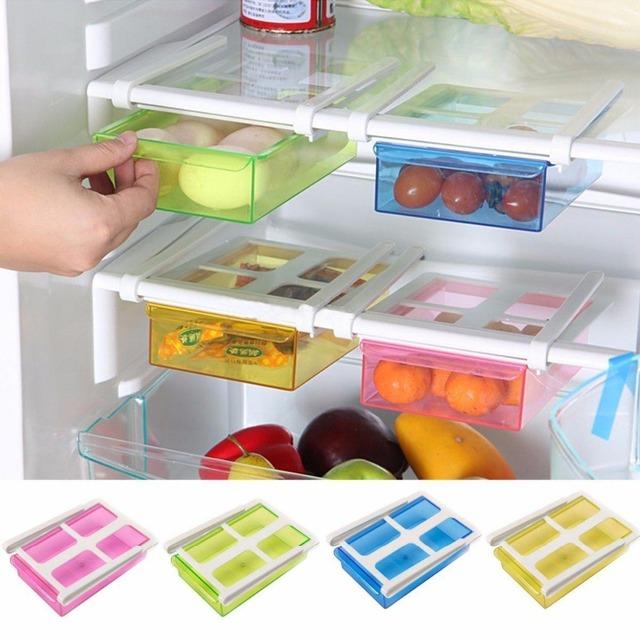 Новое Поступление Слайд Кухня Холодильник с Морозильной Камерой Space Saver Организатор Стеллаж Для Хранения Полка Держатель Инструмента 4 Цвета