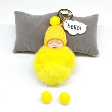 Pompom Keychain Olá Cartões de Dormir Baby Doll Keychain Falsa Pele De Coelho Bola Pompom Chaveiro Das Mulheres Chave Do Carro Saco Titular Pingente(China)