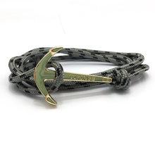 HOMOD Vintage Charm bransoletki i Bangles dla kobiet mężczyzn Hot Handmade bransoletka z liny złoty kolor kotwica wikingowie bransoletka(China)