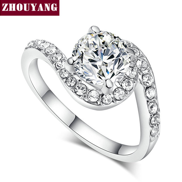 Top Quality ZYR077 CZ Diamond Wedding Ring 18K White Gold Plated  Austrian Crystals Full Sizes Wholesale & Dropshipping
