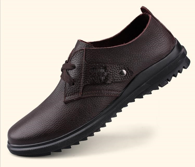 Spring business casual shoes breathable Plus Size Men Genuine Leather Shoes Flat Brand Big 38-47 - Midsummer Night Star store