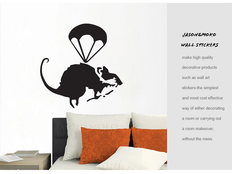 Free shipping helicopter rat banksy wall stickers mural for Banksy rat mural