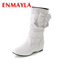 ENMAYLA Venta Caliente Botas Tamaño Grande 34-44 Nueva Moda Botas Planas para Las Mujeres, Botas de nieve y Zapatos de Mujer de Invierno 3 Colores(China (Mainland))