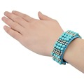 Popular American Style Handmade resin Beads Bangle Cuff Bracelet Turquoise Beads wide Rope Bangle Bracelet Jewelry