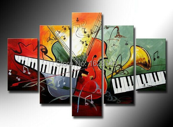 Music life 5 piece modern abstract canvas oil painting - Cuadros para bares ...