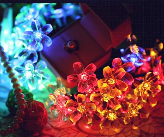 50LED Peach Flower solar powered Led lamp Solar Led Christmas Light Lamp Solar Led String external Light for garden decoration(China (Mainland))