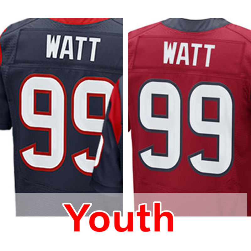 Youth #99 JJ Watt Elite Red Navy Blue Embroidery Logos and 100% Stitched Kid's 99 J.J. Watt Free Shipping S-XL(China (Mainland))