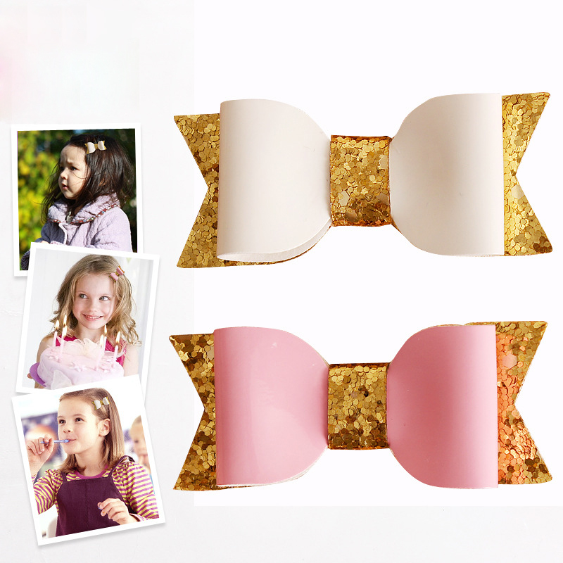 2015 European and American magazines design Baby Fashion Glitter Leather Bow Knot Hairpins Toddler Faux Bow Hair Clips 30pcs/lot(China (Mainland))