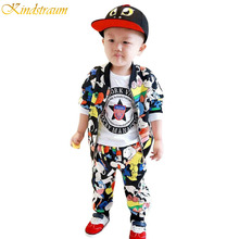 2016 NEW Spring kids clothing sets for boys&girls Children cartoon printing clothes jacket+pants Kids outerwear suits, HC204(China (Mainland))
