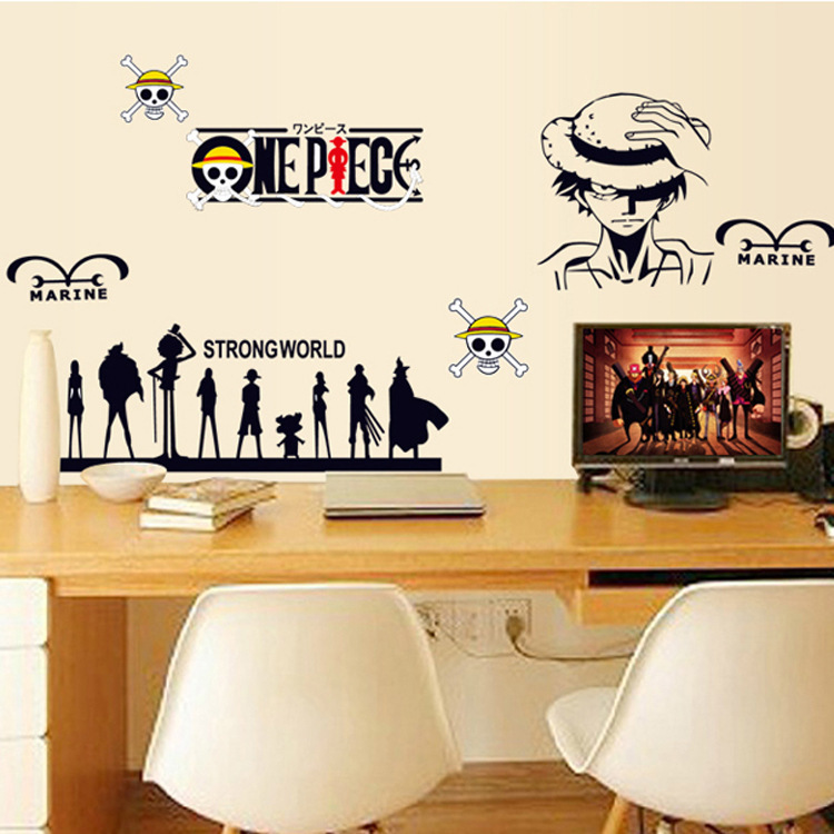 Wholesale sitting room bedroom study computer desk decorative wall stickers luffy cartoon stickers(China (Mainland))